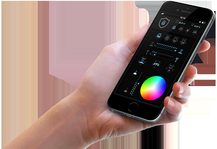 hand hält smartphone mit NEO Smart Home App