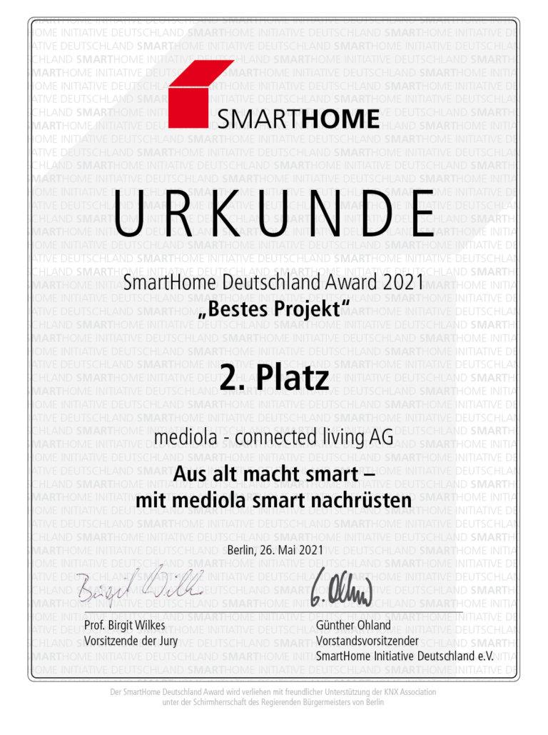 URKUNDE mediola® erneut Preisträger beim SmartHome Deutschland Award
