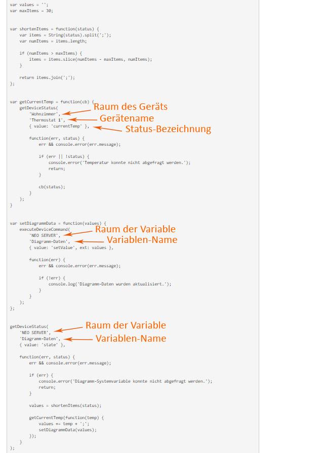 Markierung der nötigen Anpassungen im Code