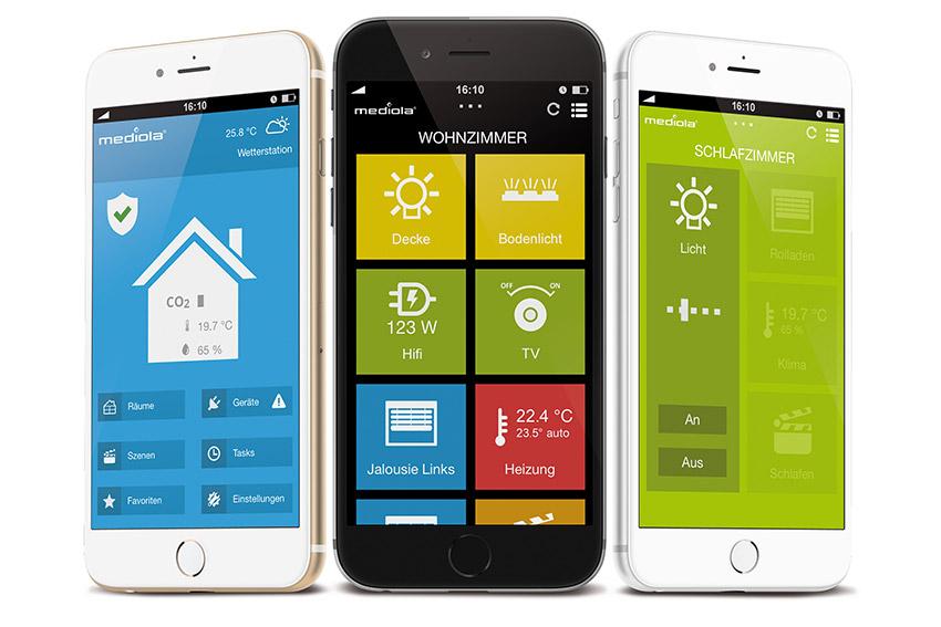 drei iphones mit iqontrol App