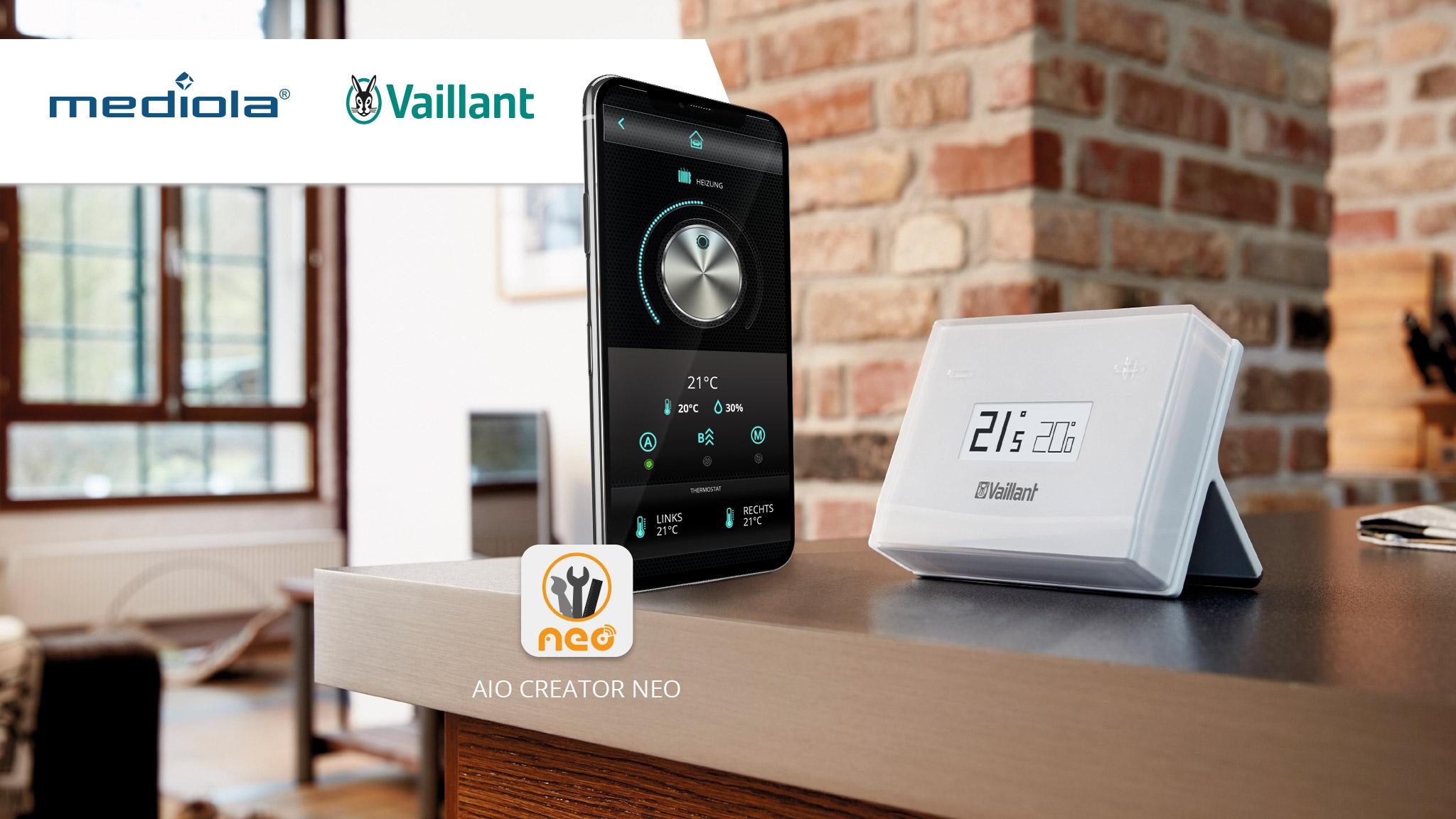 mediola® integriert Vaillant Heizungssteuerung - Smart Home Thermostat