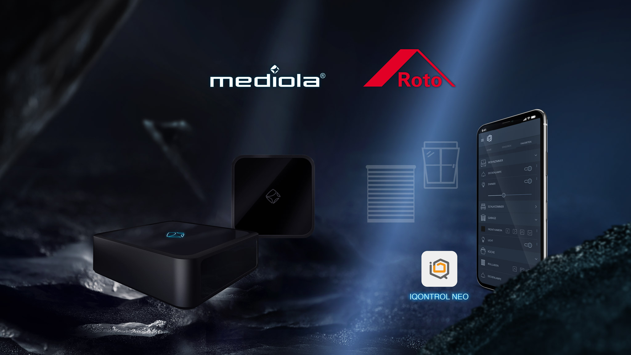 works with mediola - roto _ aio gateways & Iqontrol neo smart home