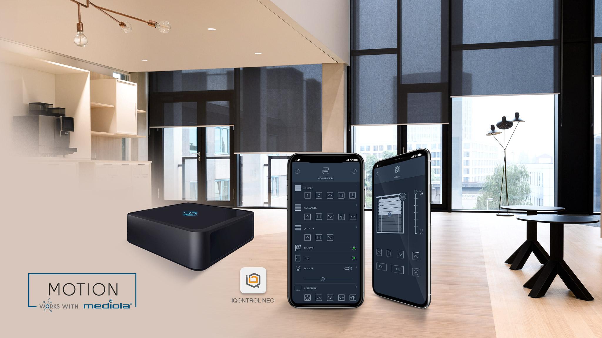 mediola® integriert MOTION Sicht- und Sonnenschutz von KADECO